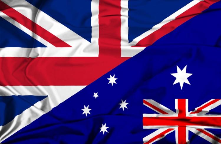 Waving flag of Australia and UK